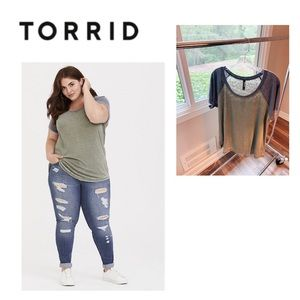 Torrid raglan baseball short sleeve tee plus